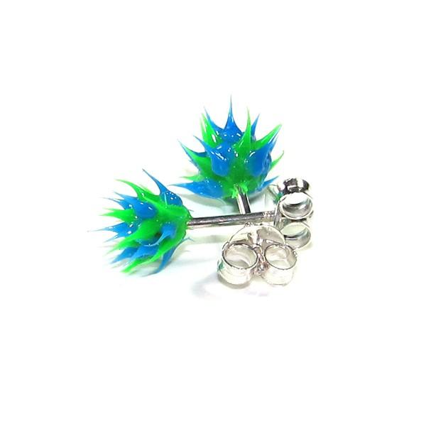 acheter boucles d 39 oreille pas cher argent silicone piques bleu vert. Black Bedroom Furniture Sets. Home Design Ideas