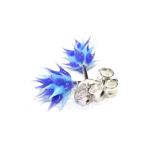 acheter boucles d 39 oreille pas cher argent silicone piques bleu violet. Black Bedroom Furniture Sets. Home Design Ideas