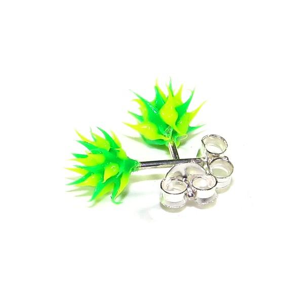 boucles d 39 oreille pas cher argent silicone piques vert vert. Black Bedroom Furniture Sets. Home Design Ideas