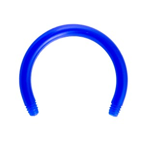 Barre Piercing Circulaire Fer à Cheval Bioflex / Bioplast Bleue Foncé