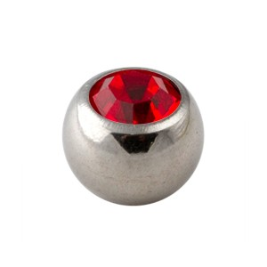 Red Rhinestone Piercing Replacement Only Ball