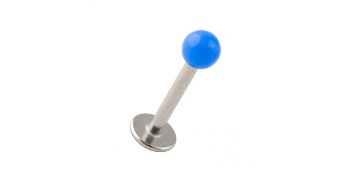 piercing labret tragus pas cher acrylique bleu fonc avec boule pleine. Black Bedroom Furniture Sets. Home Design Ideas