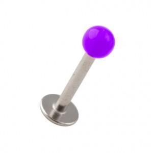 Piercing Labret / Tragus Acrylique Violet avec Boule Pleine