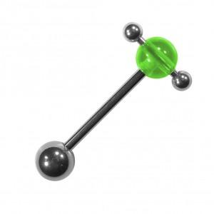 Transparent Acrylic Green Tongue Barbell Ring Mixed w/ Balls