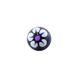 Boule de Piercing Acrylique Pailletée Fleur Blanche / Bleue