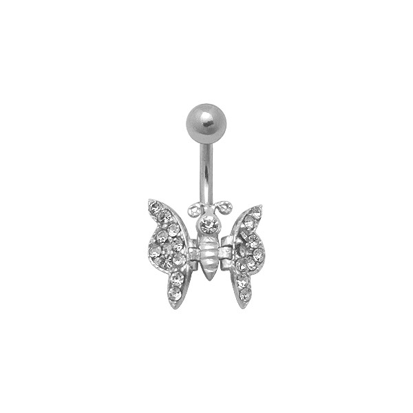 White Butterfly Belly Bar Navel Button Ring W Moving Wings