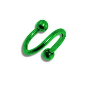 Piercing pas cher Spirale Anodisé Vert Boules