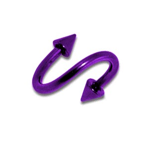 Purple Anodized Twisted Barbell w/ Spikes
