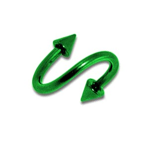 Piercing Spirale pas cher Anodisé Vert Piques