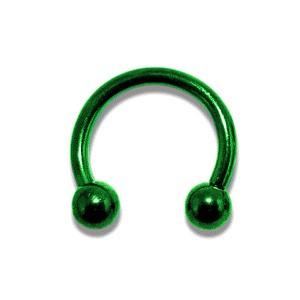 Piercing Hufeisen Eloxiert Grün Kugeln