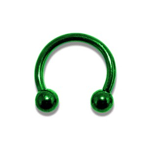 Piercing pas cher Fer à Cheval Anodisé Vert Boules