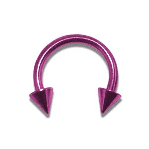 Pink Anodized Circular Barbell w/ Spikes