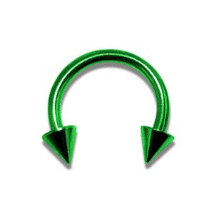 Green Anodized Circular Barbell w/ Spikes