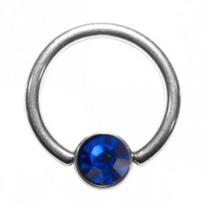 Piercing Anillo Titanio Grado 23 BCR Strass Azul
