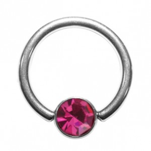 Grade 23 Titanium BCR Ring with Pink Strass