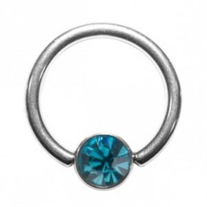 Piercing Anneau Titane Grade 23 BCR Strass Turquoise