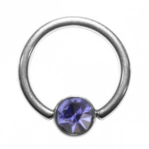 Grade 23 Titanium BCR Ring with Light Purple Strass