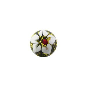 Boule de Piercing Acrylique Pailletée Fleur Blanche / Jaune