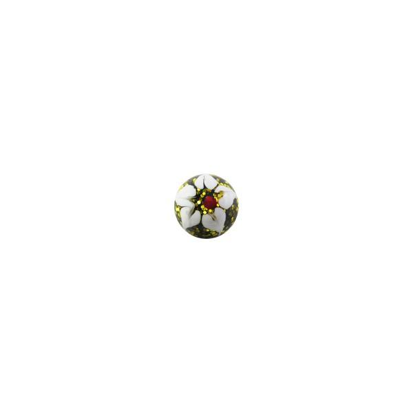Boule De Piercing Acrylique Pailletee Fleur Blanche Jaune