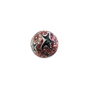Boule de Piercing Acrylique Pailletée Etoiles Noires / Blanches