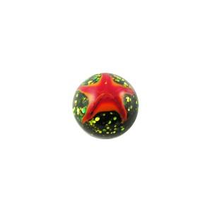 Boule de Piercing Acrylique Pailletée Etoiles Rouges / Oranges