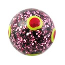 Acrylic Spangled Red/Yellow Circles Barbell Ball