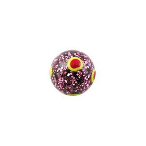 Boule de Piercing Acrylique Pailletée Ronds Rouges / Jaunes