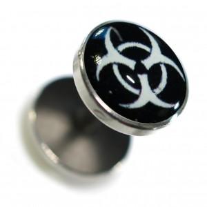 Fake Earlobe Plug Stud Earring in 316L Surgical Steel w/ White Biohazard Logo