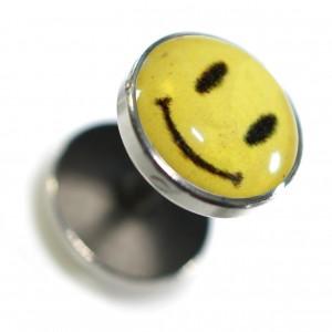 Fake Earlobe Plug Stud Earring in 316L Surgical Steel w/ Yellow Smiley Logo