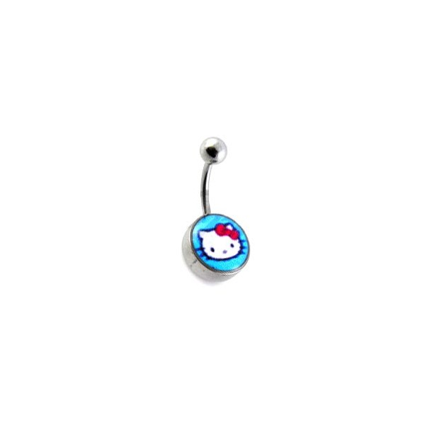 Blue Hello Kitty Logo 316l Steel Belly Bar Navel Button Ring