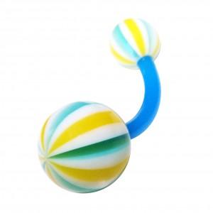 Bauchnabelpiercing Bioflex Beach Ball Gelb / Blau