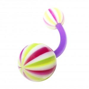 Piercing Nombril Bioflex Beach Ball Violet / Vert