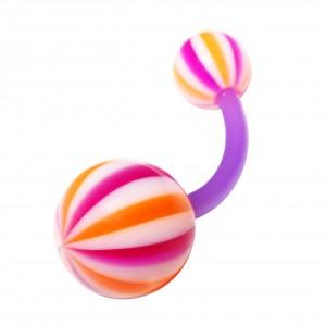 Piercing Nombril pas cher Bioflex Beach Ball Violet / Orange
