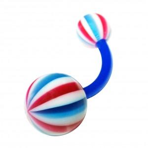 Piercing Nombril Bioflex Beach Ball Rouge / Bleu