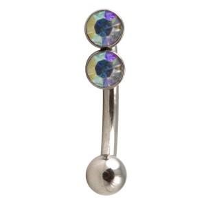Augenbrauenpiercing Stahl mit Kugel & Zwei Strasssteine Mehrfarbig