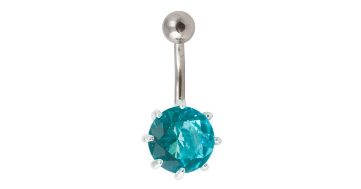 Turquoise Strass 925 Silver 316l Steel Belly Bar Navel Button Ring With Claws