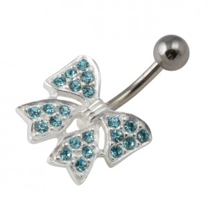 Piercing Nombril Argent Massif 925 Noeud Papillon Strass Turquoise