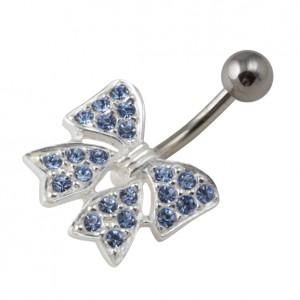 Piercing Nombril Argent Massif 925 Noeud Papillon Strass Bleu Clair
