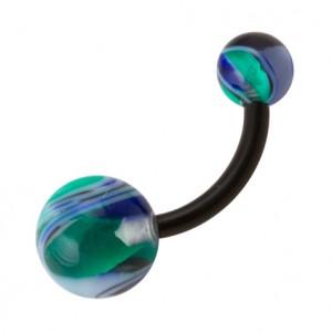 Piercing Nombril Bio-Flexible Vortex Vert / Bleu