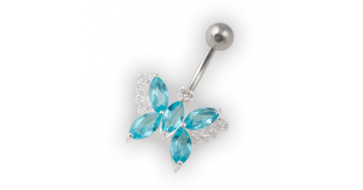 Turquoise Pebble Stones Butterfly Belly Bar Navel Button Ring In 925 Silver 316l Steel