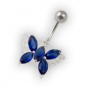 Dark Blue Pebble Stones Butterfly Belly Bar Navel Button Ring in 925 Silver & 316L Steel