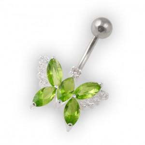 Piercing Ombligo Mariposa Guijarros Verde Claro Plata de Ley 925