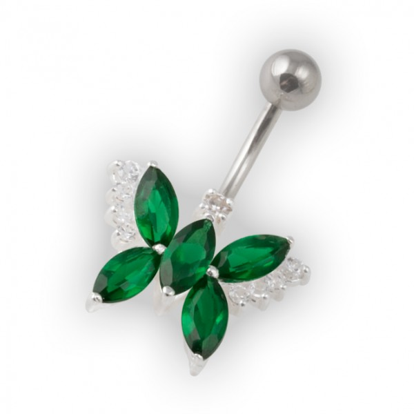 Dark Green Pebble Stones Butterfly Belly Bar Navel Button Ring In 925 Silver 316l Steel