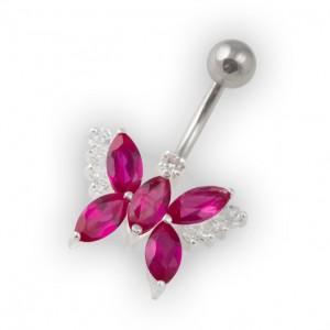 Piercing Ombligo Mariposa Guijarros Rosa Oscuro Plata de Ley 925