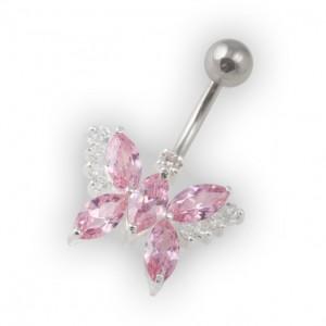 Piercing Nombril Papillon Galets Rose Clair Argent Massif 925