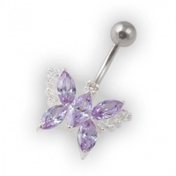 Light Purple Pebble Stones Butterfly Belly Bar Navel Button Ring In 925 Silver 316l Steel