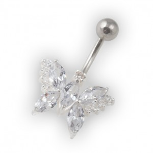White Pebble Stones Butterfly Belly Bar Navel Button Ring in 925 Silver & 316L Steel