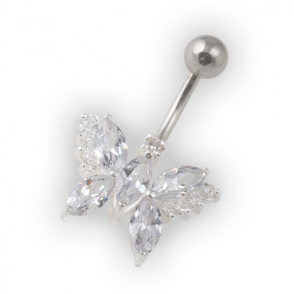 White Pebble Stones Butterfly Belly Bar Navel Button Ring In 925 Silver 316l Steel
