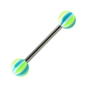Piercing Langue Beach Ball Acier 316L Vert / Bleu