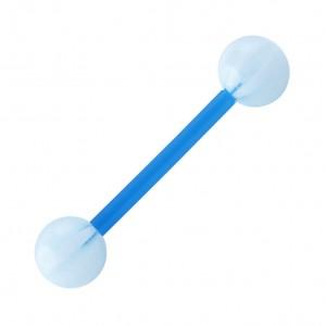 Piercing Langue Bioflex Bicolore Bleu Clair / Blanc pas cher